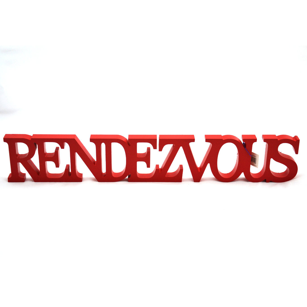 Rode houten letters RENDEZVOUS RED
