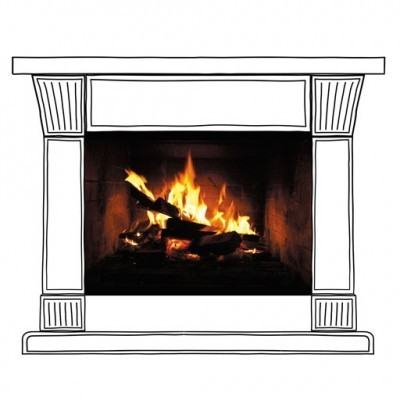 Muursticker open haard FIREPLACE